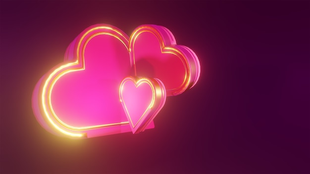 Coeurs 3d en couleur rose et or sur fond sombre pour le fond de la saint-valentin