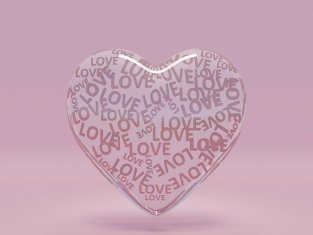 Coeurs 3d sur fond rose