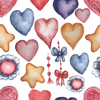 Coeurs, arcs et étoiles dans un style aquarelle