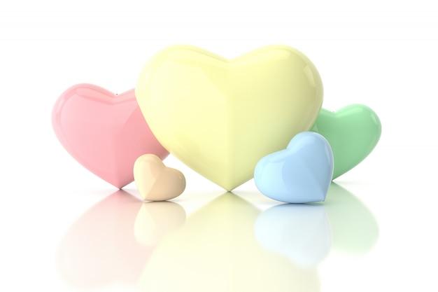 Coeurs aux couleurs pastel
