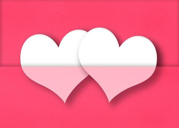 Coeurs blancs sur un fond de papier rouge.