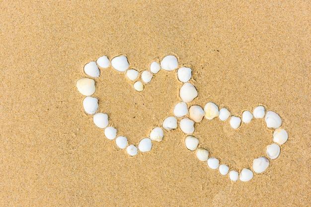 Coeurs de coquillage sur la plage de sable