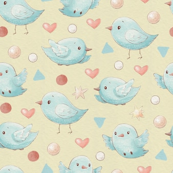 Coeurs et étoiles d'oiseaux de dessin animé mignon modèle sans couture.