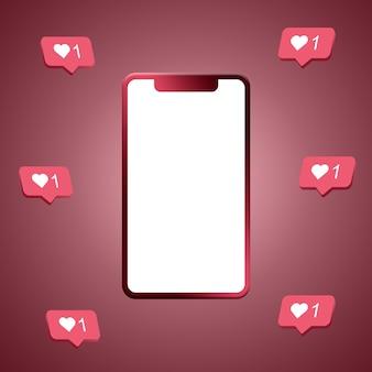 Coeurs instagram autour du rendu 3d de l'écran du téléphone
