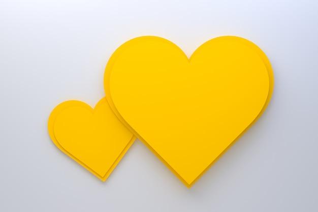 Coeurs jaunes sur fond blanc