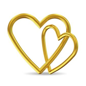 Coeurs d'or isolés sur blanc