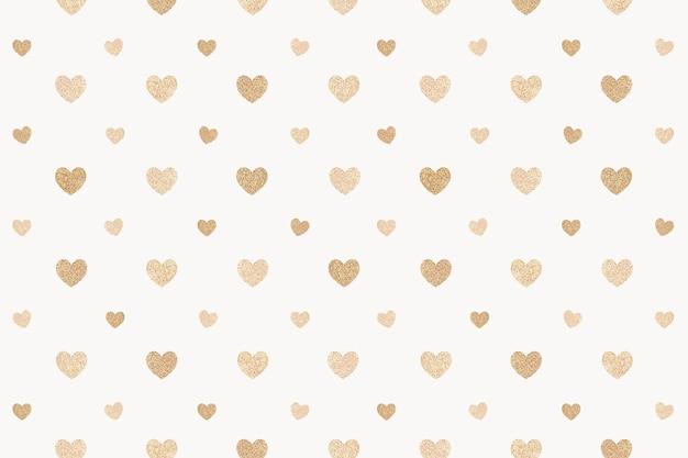 Coeurs d'or scintillants sans soudure à motifs