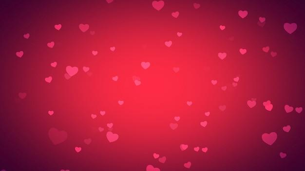Coeurs romantiques sur fond brillant. joyeuses fêtes de la saint-valentin. illustration 3d de style luxueux et élégant