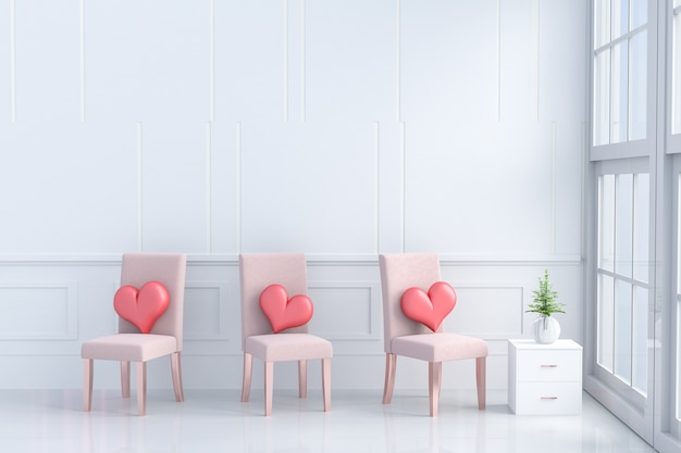 Coeurs rouges sur une chaise rose orangé dans la chambre de l'amour. chambres de l'amour le jour de la saint-valentin. 3d