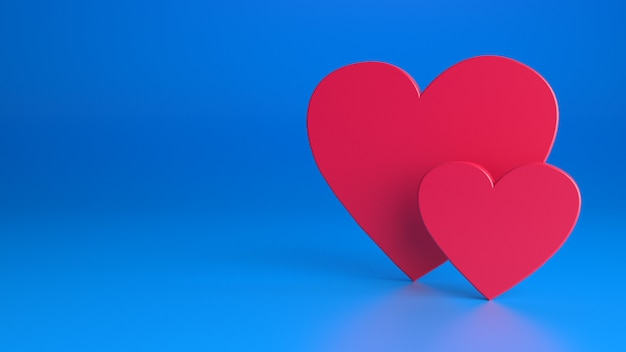 Coeurs rouges sur un mur bleu