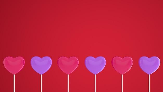 Coeurs rouges et violets sur un bâton sur un mur rose