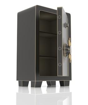 Coffre-fort en acier à moitié ouvert isolé sur blanc. rendu 3d haute résolution