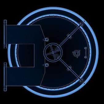 Coffre-fort de banque en acier à rayons x de rendu 3d ou coffre-fort de banque isolé