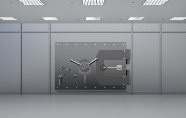 Coffre-fort de banque métallique de rendu 3d ou coffre-fort de banque