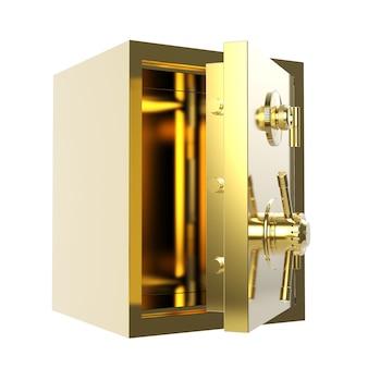 Coffre-fort de banque d'or de rendu 3d ou coffre-fort de banque ouvert