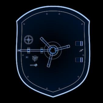Coffre-fort de banque à rayons x de rendu 3d ou coffre-fort de banque isolé sur noir