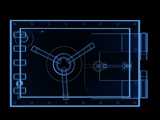 Coffre-fort de banque à rayons x de rendu 3d ou coffre-fort de banque isolé