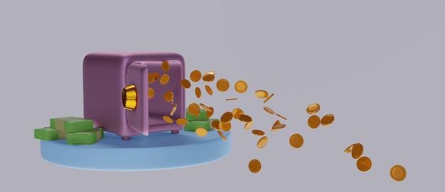 Coffre-fort plein de pièces d'or d'argent de la porte ouverte.
