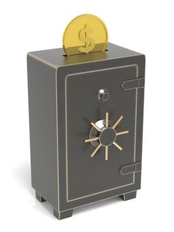 Coffre-fort verrouillé avec des pièces d'argent insérées rendu 3d