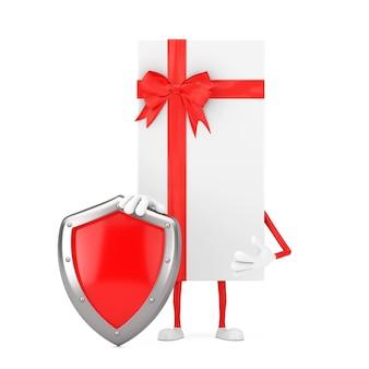 Coffret blanc et mascotte de personnage de ruban rouge avec bouclier de protection en métal rouge sur fond blanc. rendu 3d