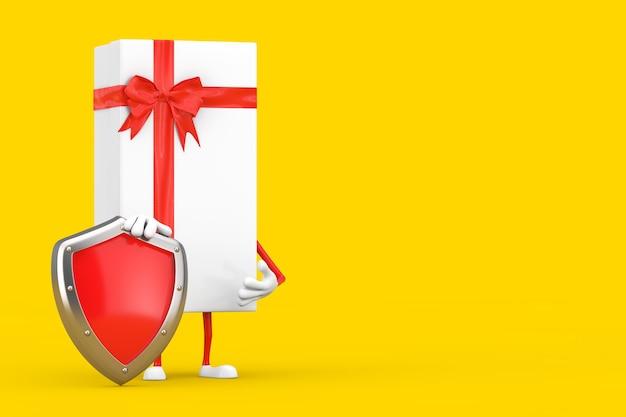 Coffret blanc et mascotte de personnage à ruban rouge avec bouclier de protection en métal rouge sur fond jaune. rendu 3d