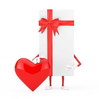 Coffret blanc et mascotte de personnage de ruban rouge avec coeur rouge sur fond blanc. rendu 3d