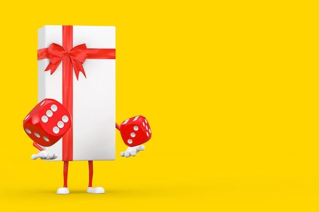 Coffret blanc et mascotte de personnage de ruban rouge avec des cubes de dés de jeu rouges en vol sur fond jaune. rendu 3d
