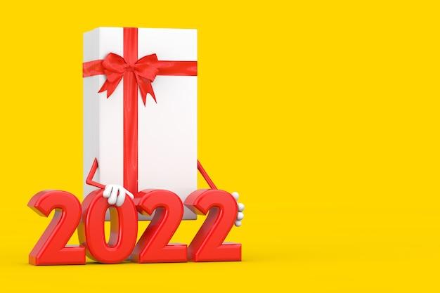 Coffret blanc et mascotte de personnage de ruban rouge avec signe du nouvel an 2022 sur fond jaune. rendu 3d