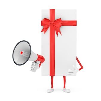 Coffret blanc avec mégaphone rétro rouge sur fond blanc. rendu 3d