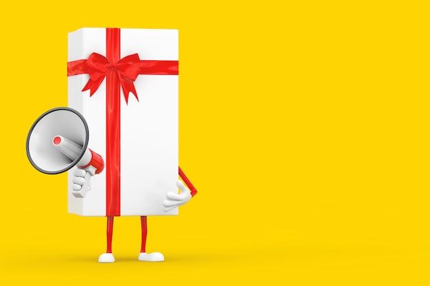 Coffret blanc avec mégaphone rétro rouge sur fond jaune. rendu 3d