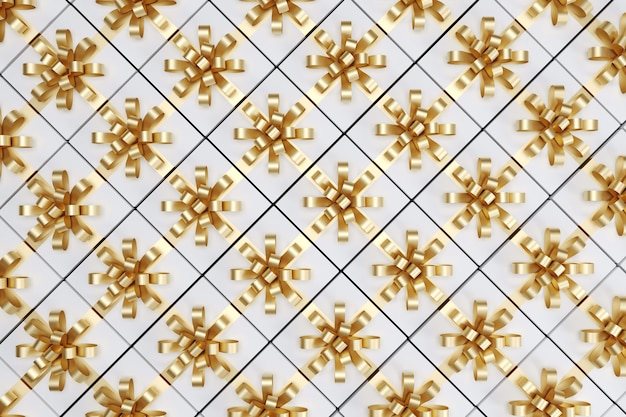 Coffret blanc avec ruban d'or sur la vue de dessus. rendu 3d. concept d'idée de noël.
