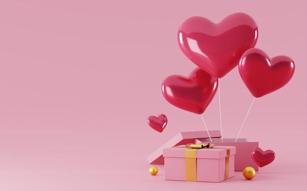 Coffret cadeau 3d avec ballon coeur amour