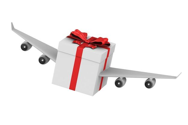 Coffret cadeau avec des ailes sur blanc