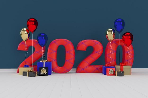 Coffret cadeau avec ballon. bonne année 2020. rendu 3d
