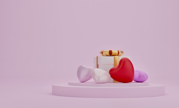 Coffret cadeau et coeur sur podium de présentation avec fond de couleur rose. ide pour les mères, la saint-valentin, l'anniversaire, le rendu 3d.