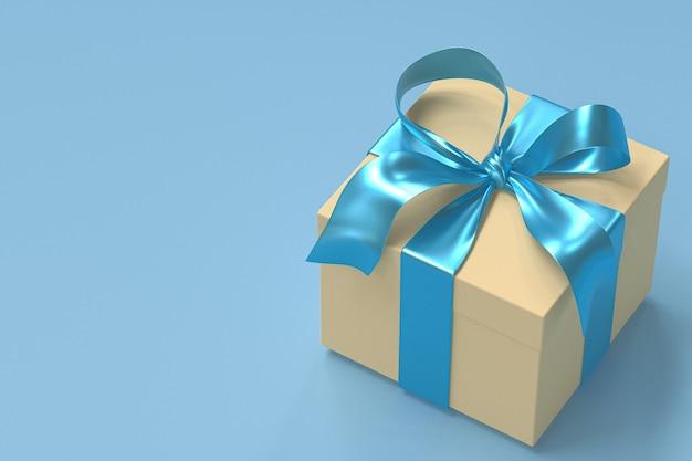 Coffret cadeau jaune 3d avec ruban bleu et arc