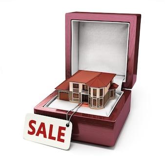 Coffret cadeau avec maison. concept immobilier. rendu 3d