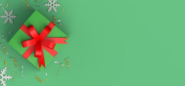 Coffret cadeau de noël avec flocon de neige copiez l'illustration 3d de l'espace