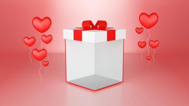 Coffret cadeau de rendu 3d avec des ballons en forme de coeur couleur rose fond abstrait, concept de fond saint valentin