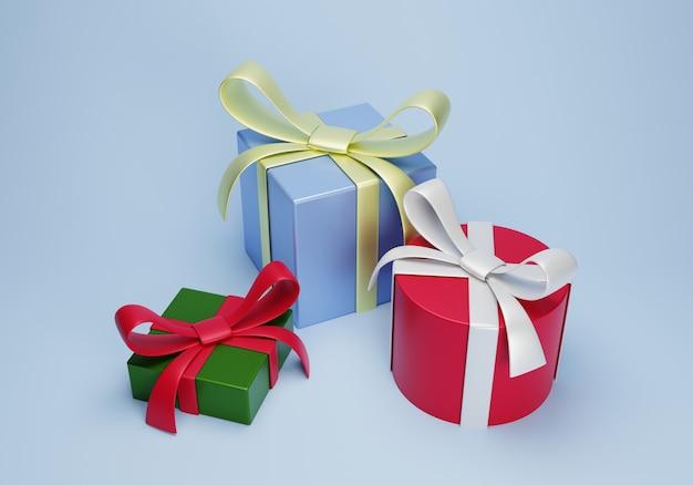 Coffret cadeau de rendu 3d pour joyeux noël