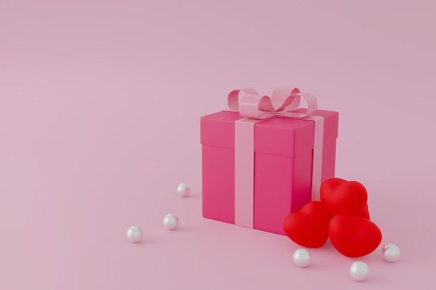 Coffret cadeau rose ou boîte présente sur fond rose, concept de la saint-valentin. rendu 3d.
