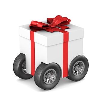 Coffret cadeau avec roue sur espace blanc