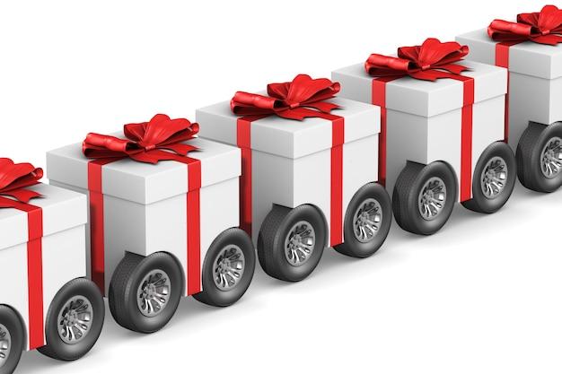 Coffret cadeau avec roue sur fond blanc. illustration 3d isolée