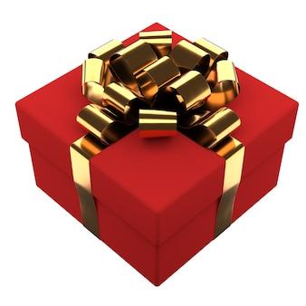 Coffret cadeau avec ruban doré et noeud