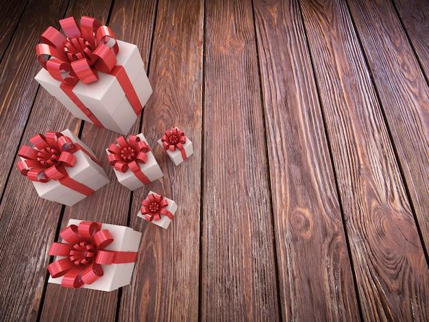 Coffret cadeau sur table en bois