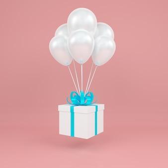 Coffret carré fly en ballon blanc air et fond rose ruban rouge. rendu de concept pastel 3d