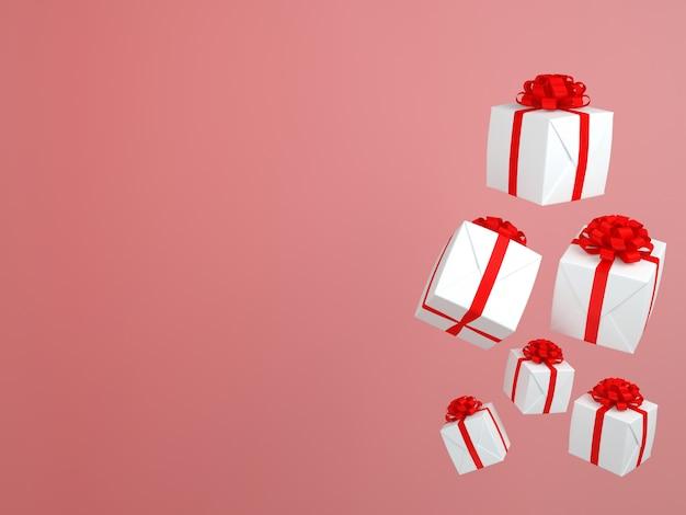 Coffret carré fly in air et ruban rouge rose concept 3d rendre fond pastel