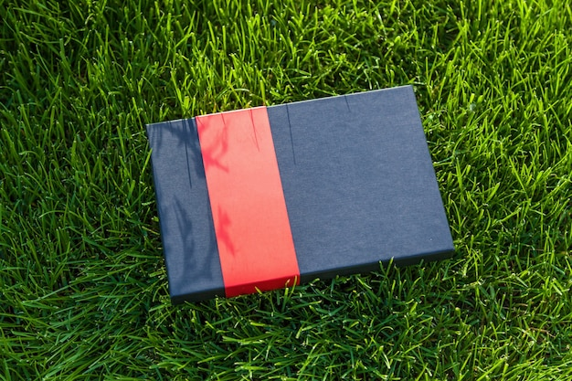 Coffret noir avec une bande rouge allongée sur l'herbe. coffret cadeau sur l'herbe.