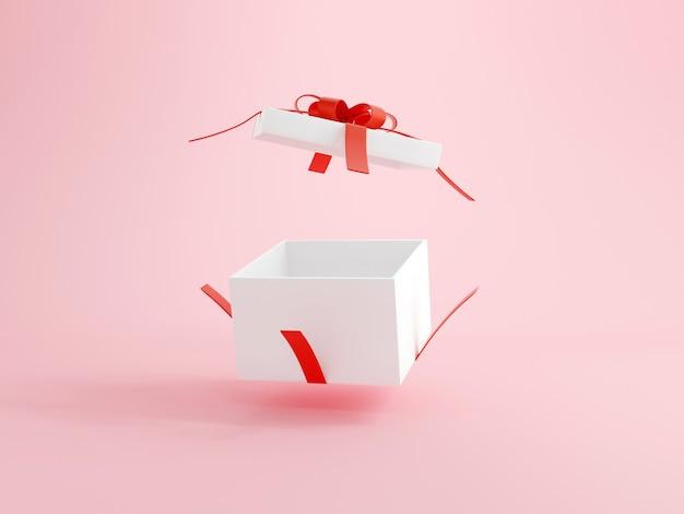 Coffret ouvert avec ruban rouge sur fond rose illustrations 3d de concept de joyeux anniversaire