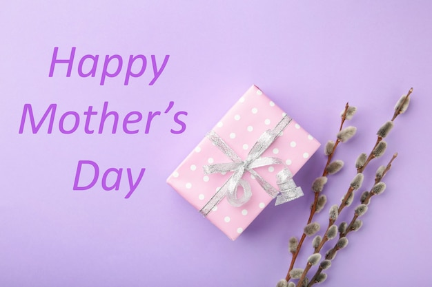 Coffret rose avec brindilles de saule et gard. carte de voeux de bonne fête des mères. vue de dessus